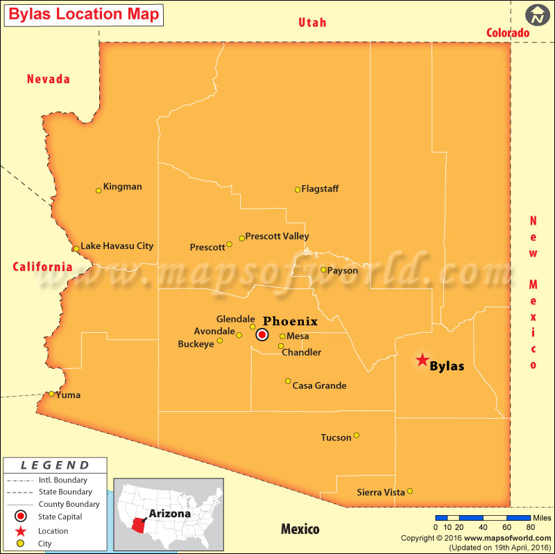Where is Bylas , Arizona