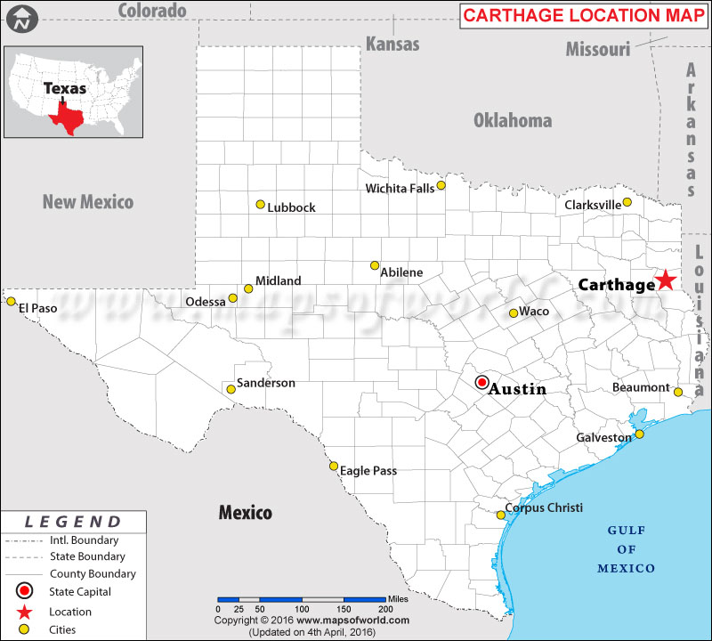 Location Map of Carthage , Texas