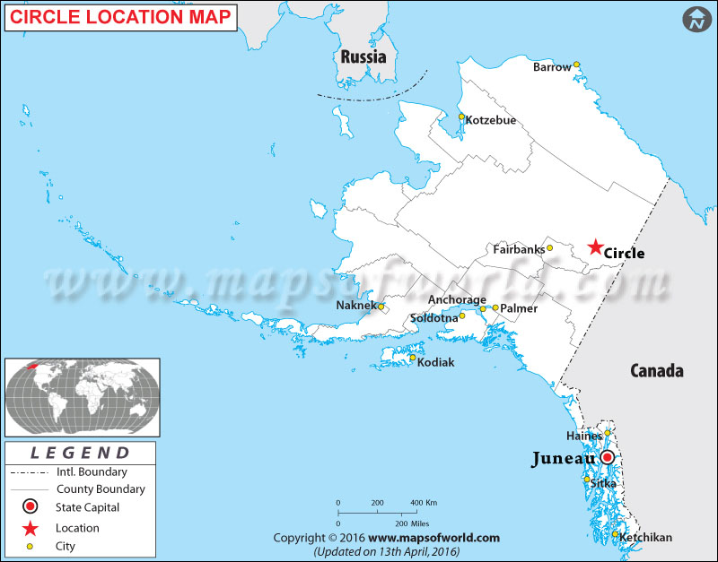 Location Map of Circle , Alaska
