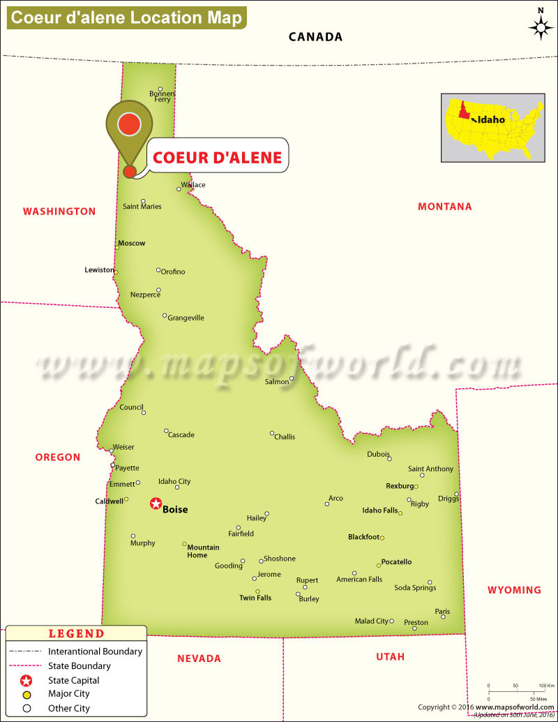 Where is Coeur D'alene Located in Idaho, USA