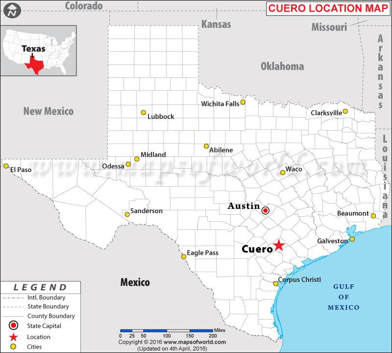 Location Map of Cuero , Texas