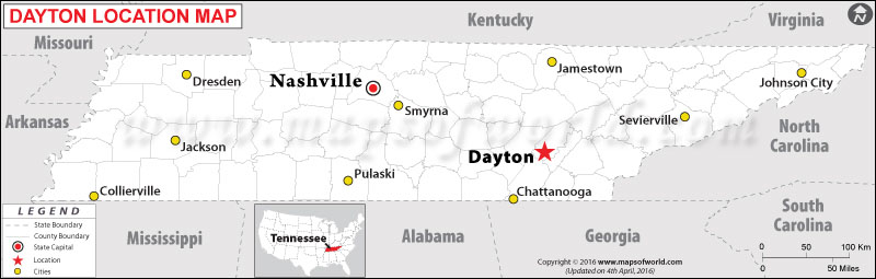 Location Map of Dayton , Tennessee