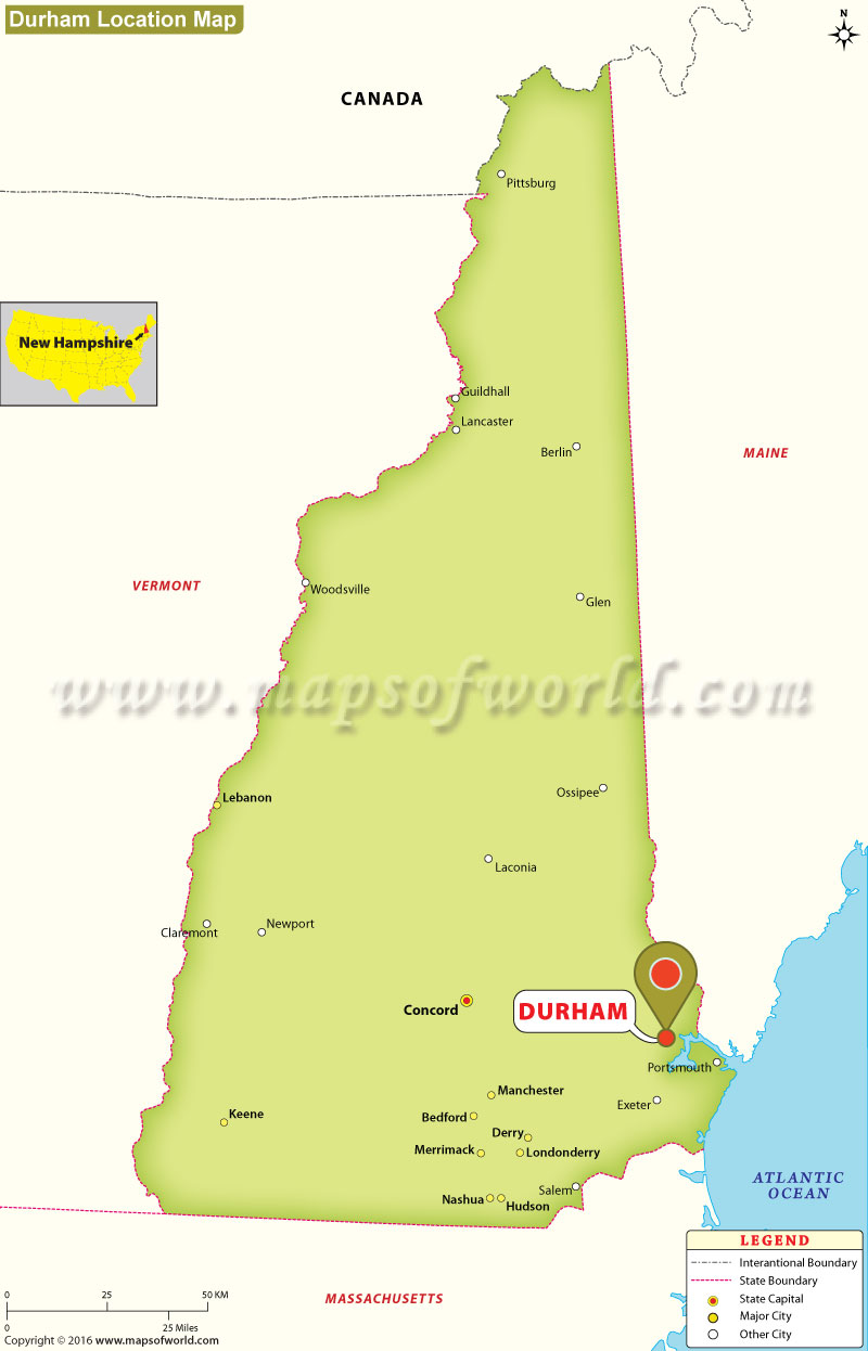 Nh Usa Map.Where Is Durham Located In New Hampshire Usa