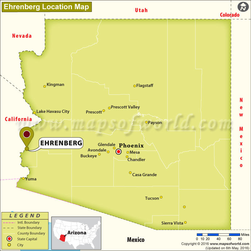 Where Is Ehrenberg Located In Arizona Usa