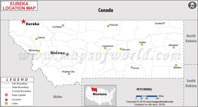 Location Map of Eureka , Montana