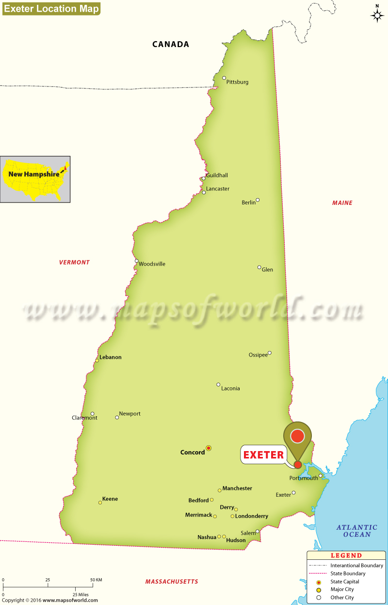 Where Is Exeter Located In New Hampshire USA - New hampshire us map