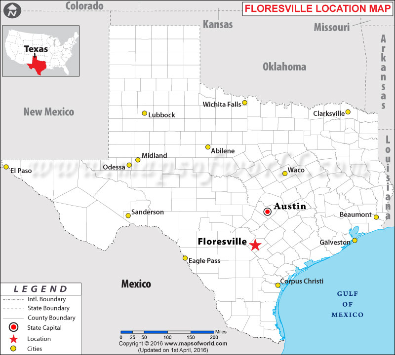Location Map of Floresville , Texas