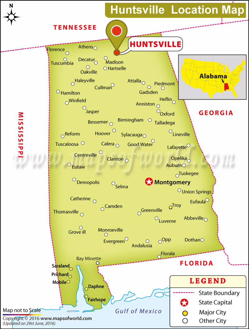 Where Is Huntsville Located In Alabama USA - Alabama in usa map