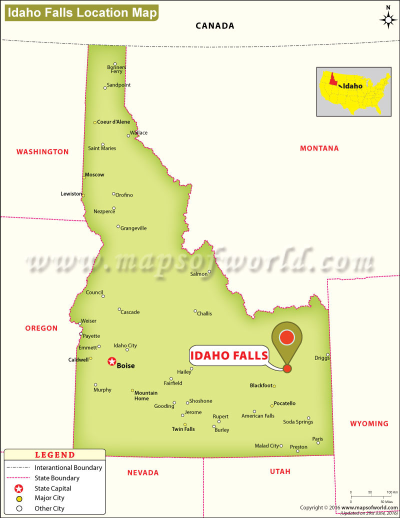 Where Is Idaho Falls Located In Idaho USA - Idaho us map