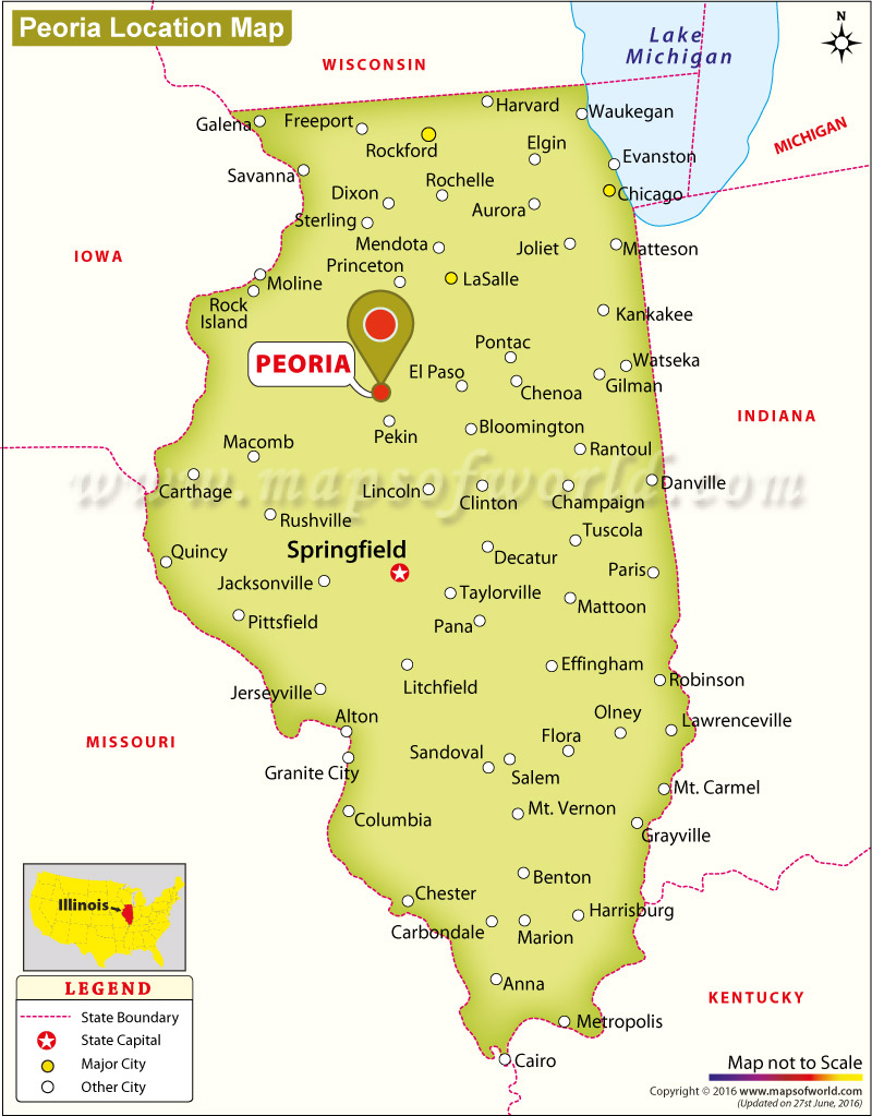 Where Is Peoria Located In Illinois USA - Evanston illinois us map