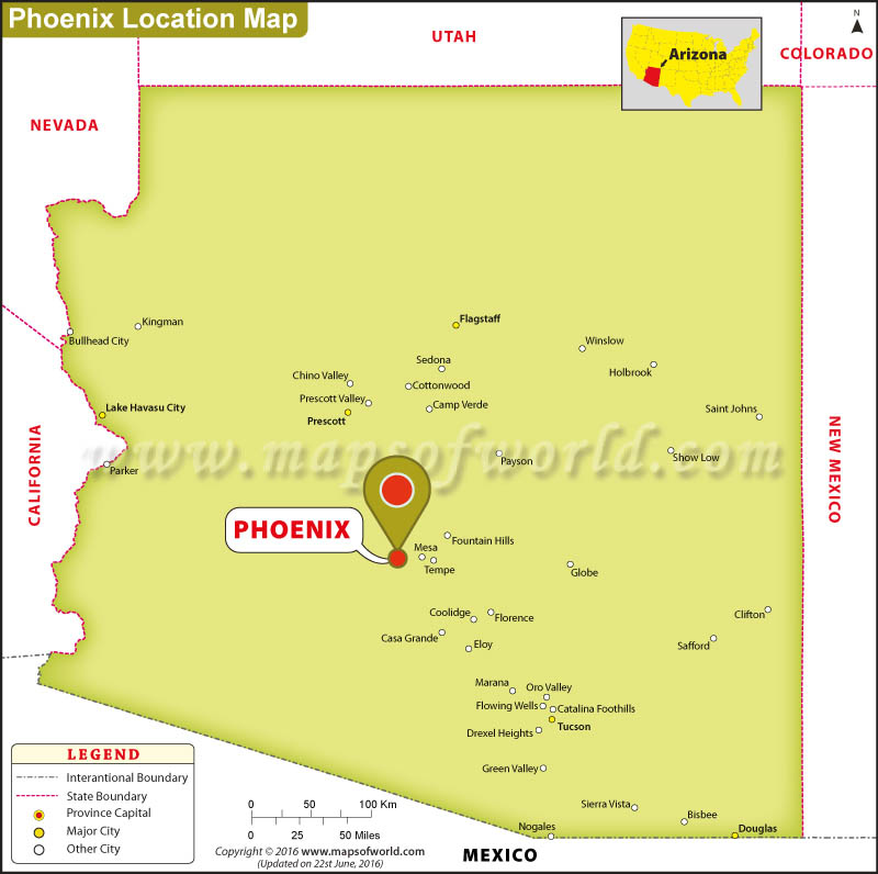 A Map Of Phoenix Arizona.Where Is Phoenix Located In Arizona Usa