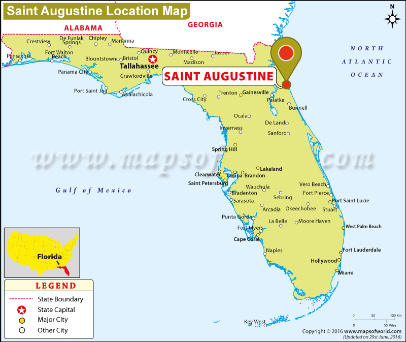 st augustine on florida map