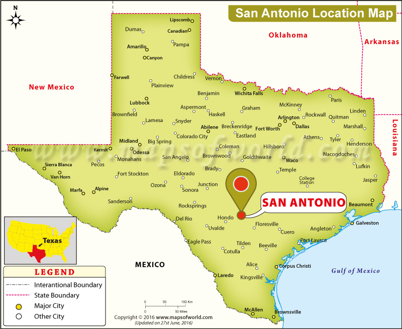 Map Of Texas Showing San Antonio Where is San Antonio Located in Texas, USA