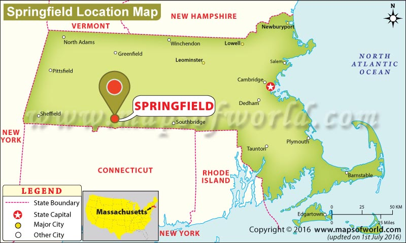Springfield Usa Map.Where Is Springfield Located In Massachusetts Usa