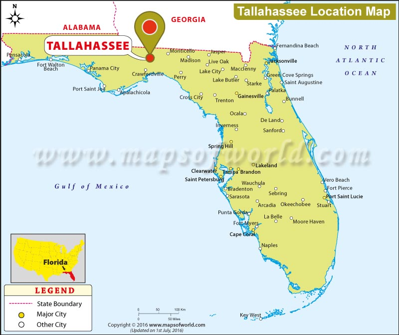 Map Of Tallahassee Where is Tallahassee Located in Florida, USA