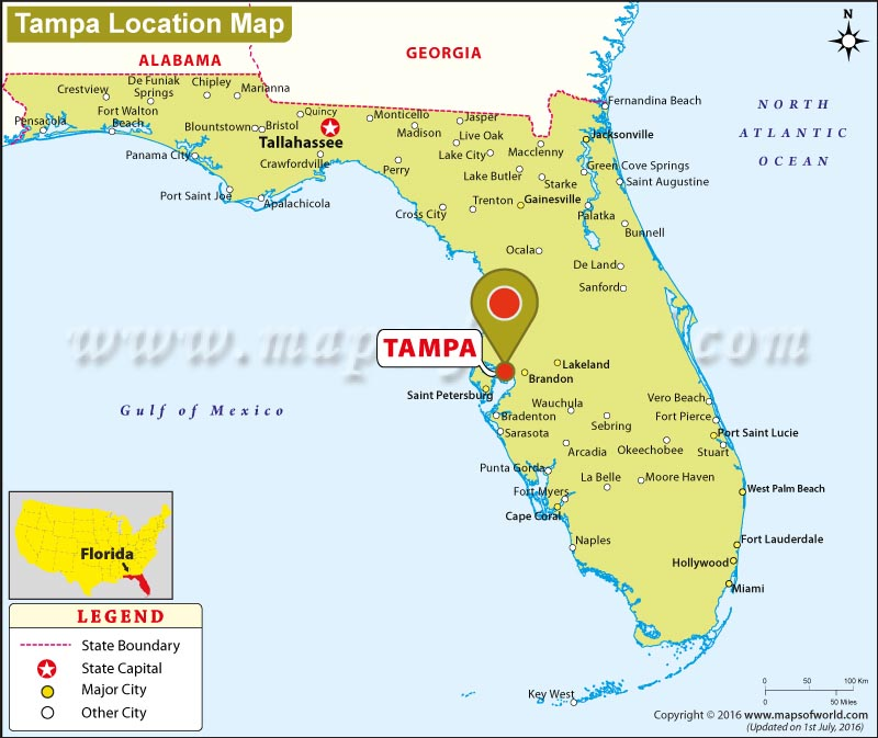 Where is Tampa Located in Florida USA