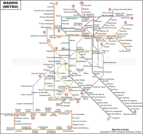 Madrid Metro Map  Metro de Madrid
