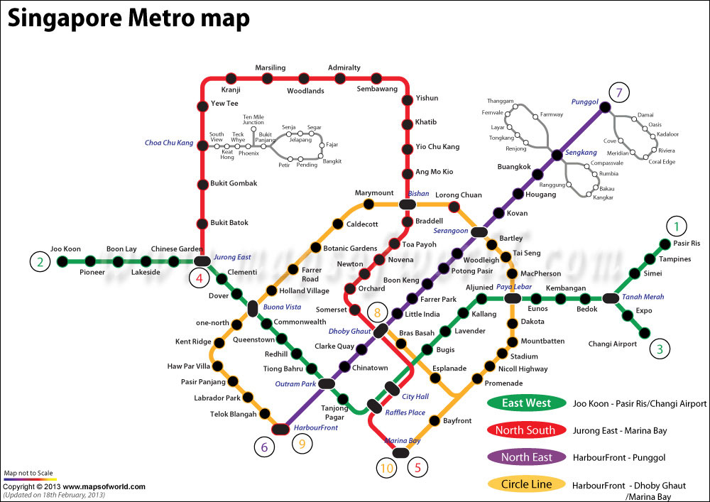 Singapore MRT Map showings MRT network.