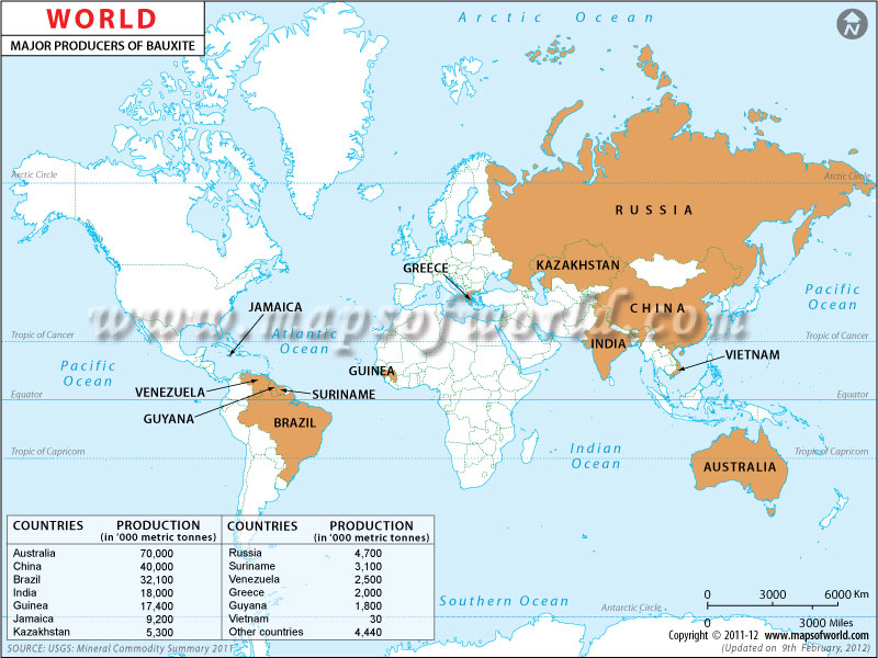 World Bauxite Producing Countries Map