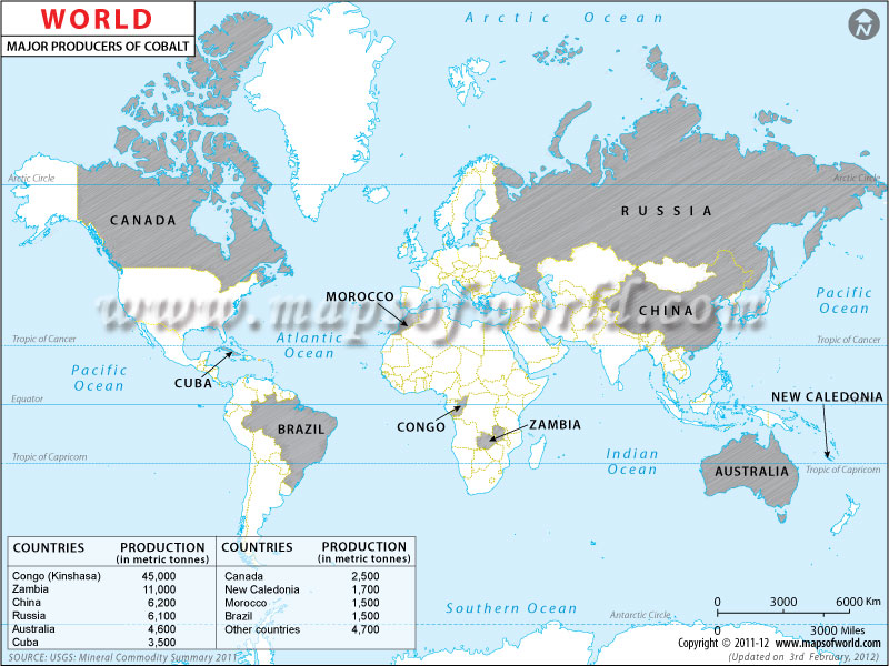 World Cobalt Producing Countries Map