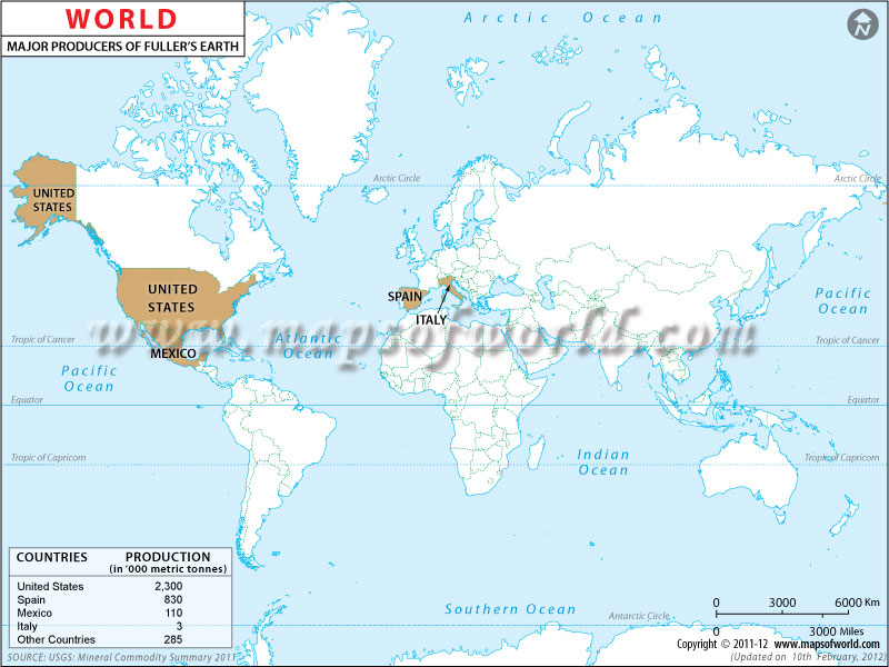 World Fullers Earth  Producing Countries Map