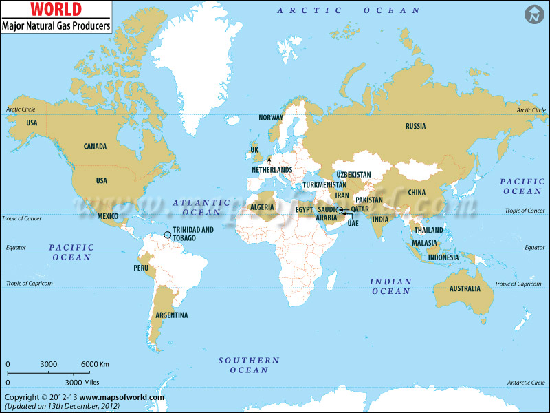 World Natural Gas Producing Countries Map