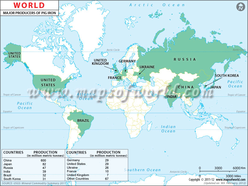 World Pig Iron Producing Countries Map