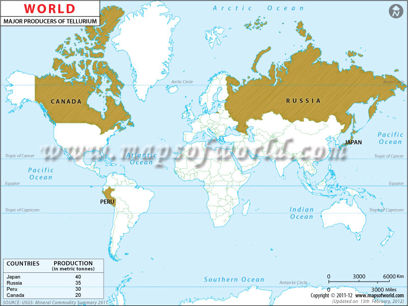 World Tellurium Producing Countries Map
