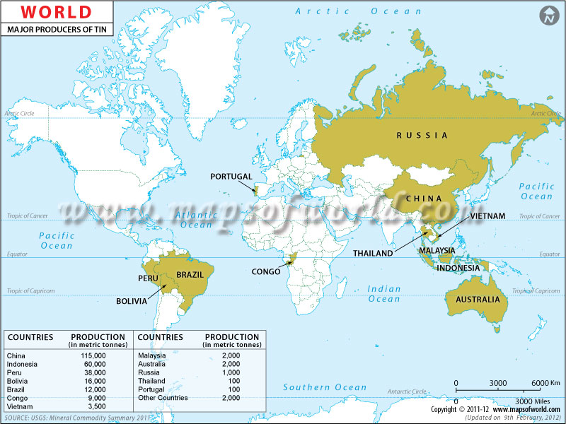 Worksheet. Tin Producing Countries Map