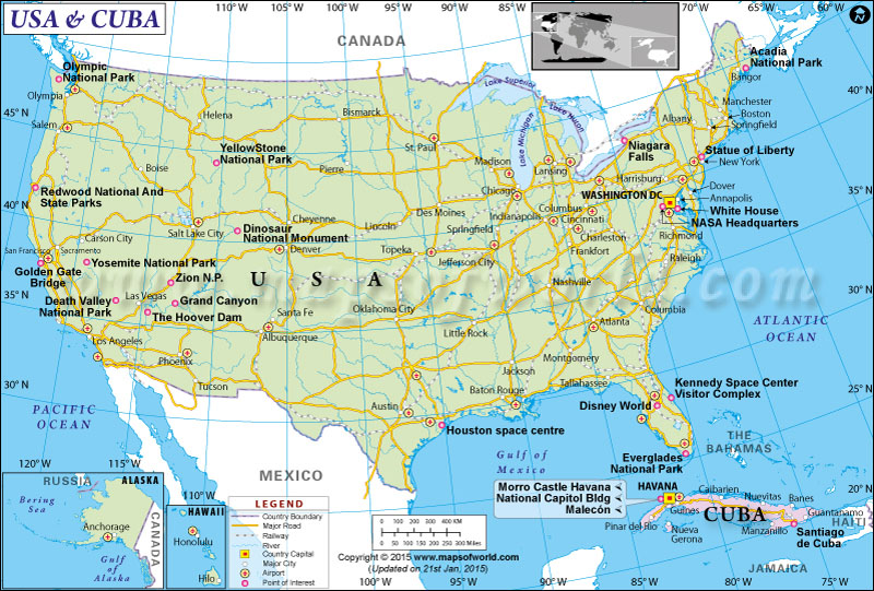 US and Cuba Map Cuba and USA Map