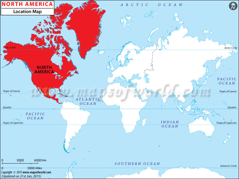 Where is North America | North America Location in World Map