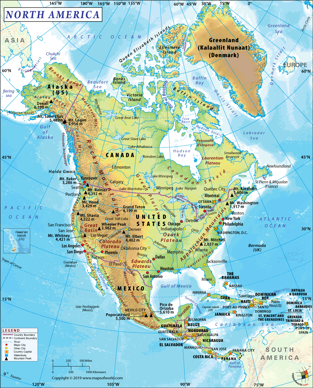 Geographical Map Of North America North America Map | Map of North America