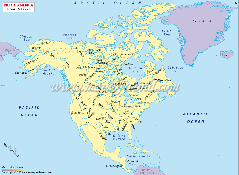Map Of North America Rivers And Lakes Rivers And Lakes In North - Us map lakes and rivers