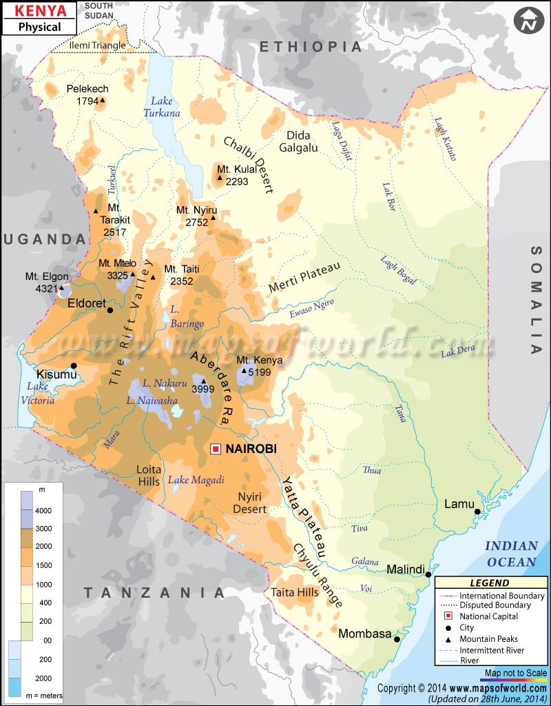 Physical Map of Kenya