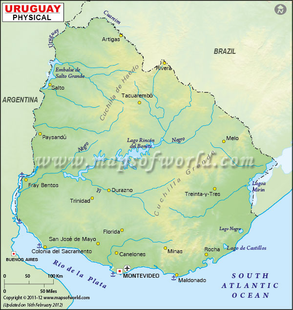 Uruguay Physical Map Physical Map of Uruguay
