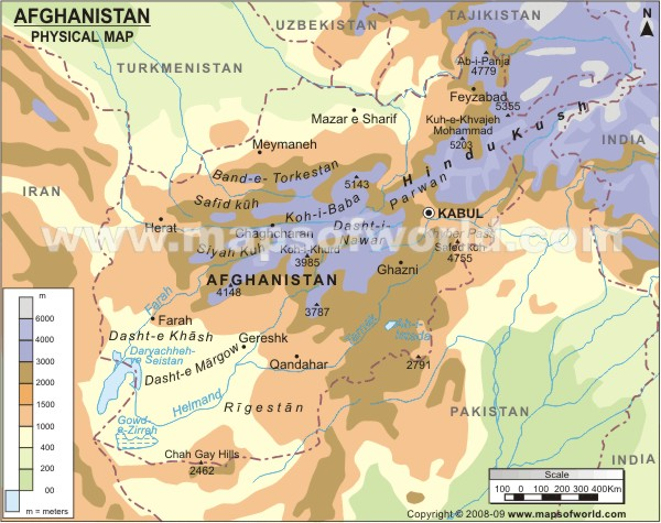 Physical Map of Afghanistan