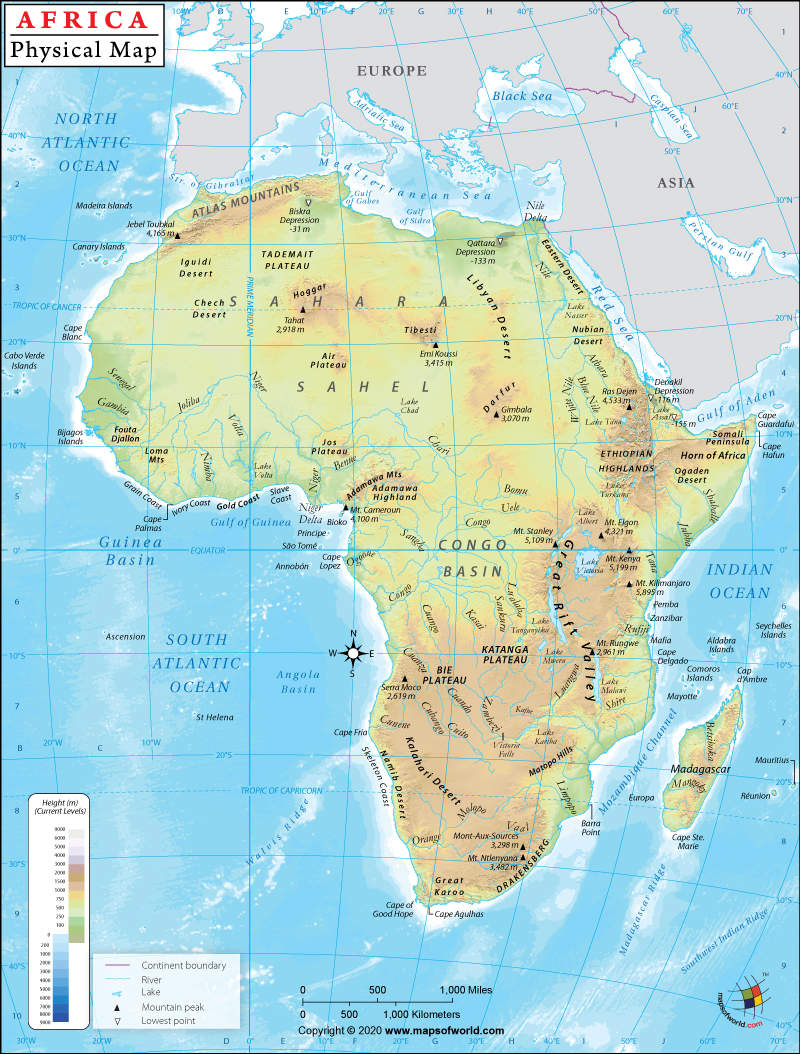 Physical Features Map Of Africa Africa Physical Map | Physical Map of Africa