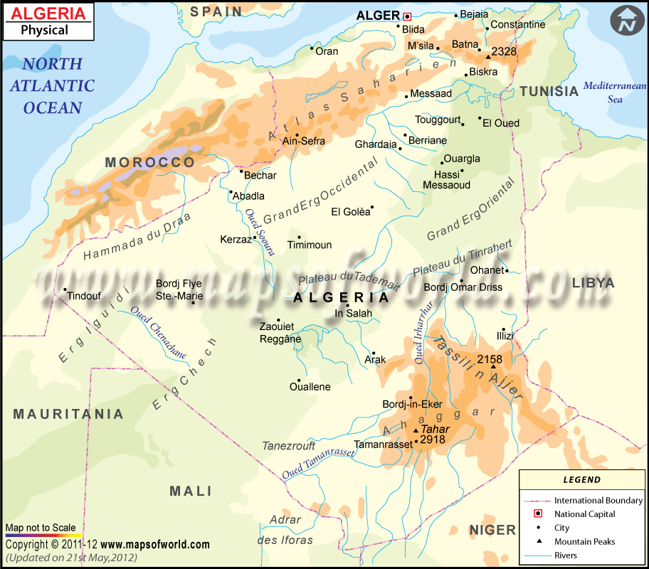 Algeria Physical Map Physical Map Of Algeria - Political map of algeria