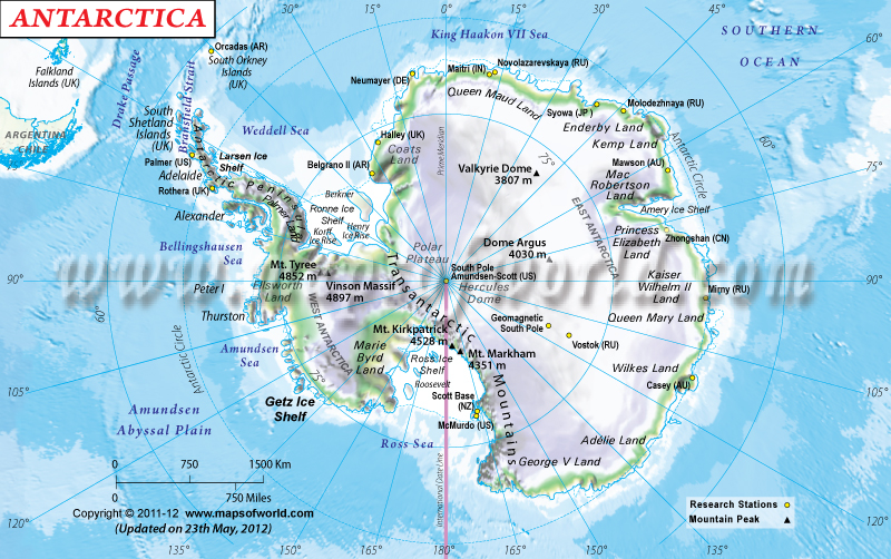 Physical Map Of Antarctica Antarctica Physical Map - Antarctica cities map