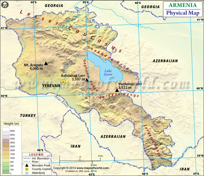 Map Of Armenia - Armenia physical map