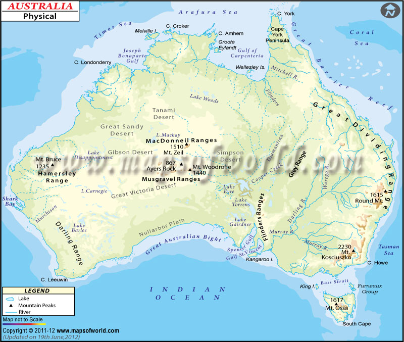 Australia Map Rivers.Physical Map Of Australia Australia Physical Map
