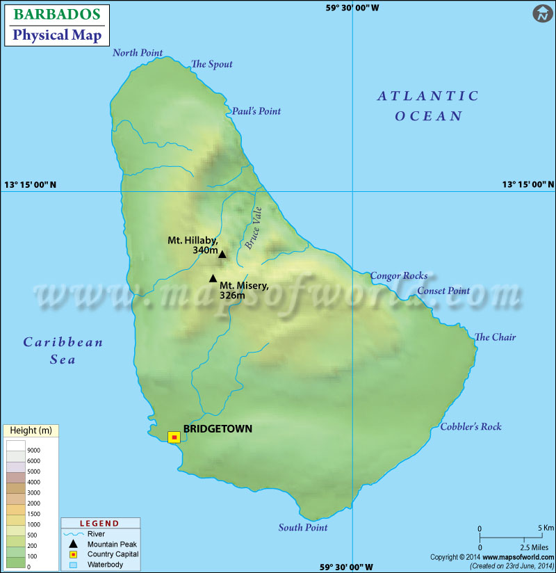 Physical Map of Barbados