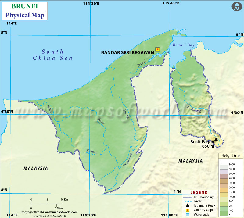 Physical Map of Brunei