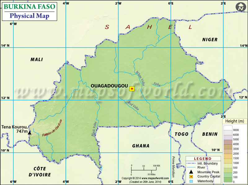 Physical Map of Burkina Faso