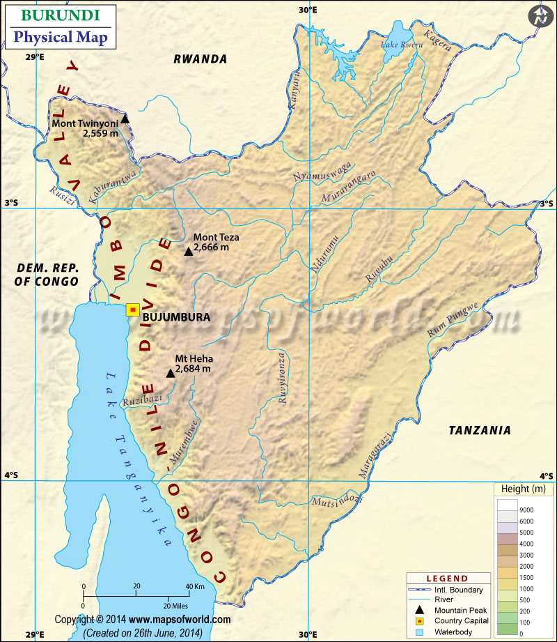 Physical Map of Burundi