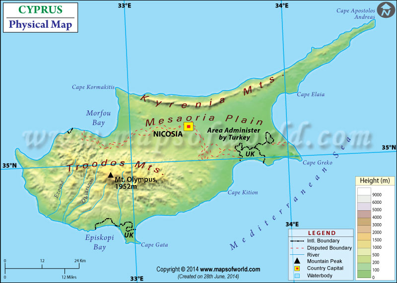 Physical Map of Cyprus