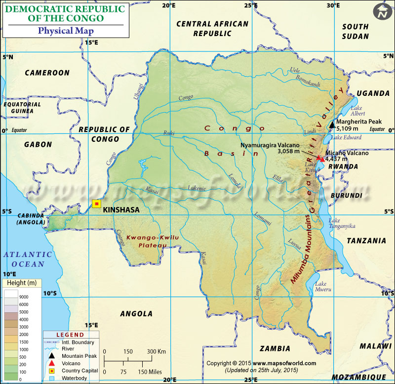 Physical Map of Democratic Republic of the Congo DR Congo