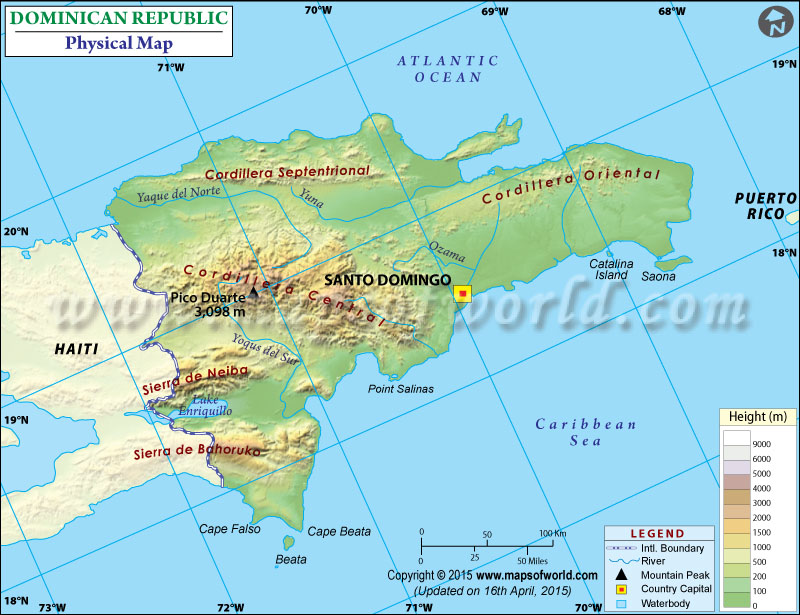Physical Map Of Dominican Republic - Dominican republic map