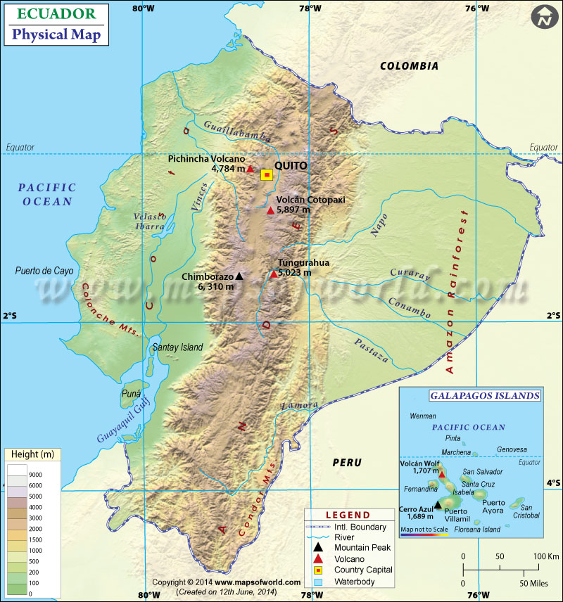 Ecuador Physical Map Physical Map of Ecuador