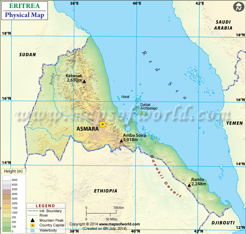 Physical Map of Eritrea